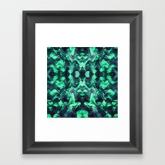 Abstract Surreal Chaos theory in Modern poison turquoise green Framed Art Print