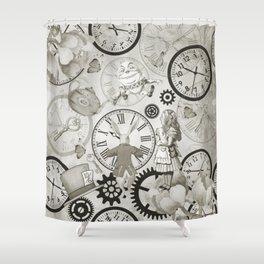 Wonderland Time - Vintage Black & White Shower Curtain