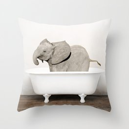 Baby Smiley Elephant in a Vintage Bathtub (c) Throw Pillow