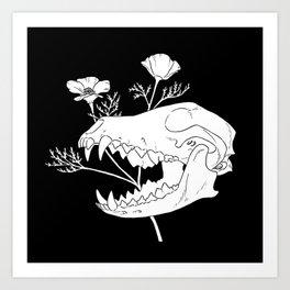 Coyote Skull with California Poppies (white) Art Print