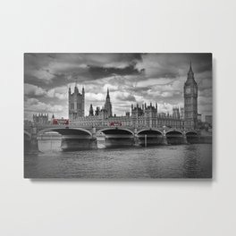 LONDON Houses of Parliament & Red Buses Metal Print