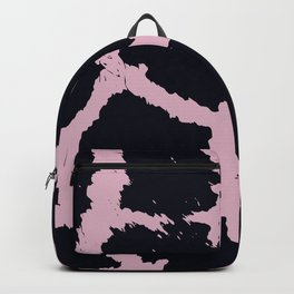 Giraffe pattern Black and pink Backpack