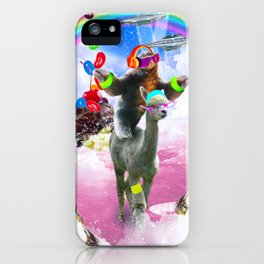 Sloth Riding Alpaca With Sundae And Jelly Beans iPhone Case