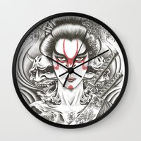 geisha Wall Clocks featuring Geisha by Demones