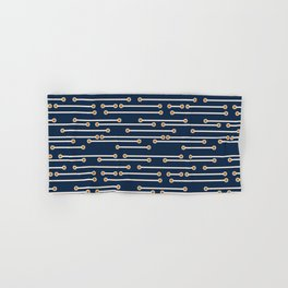 Dotted Lines in Navy, Cream and Orange Hand & Bath Towel