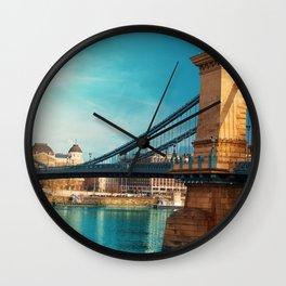 Famous Szechenyi Chain Bridge Across Danube River Budapest Hungary Ultra HD Wall Clock