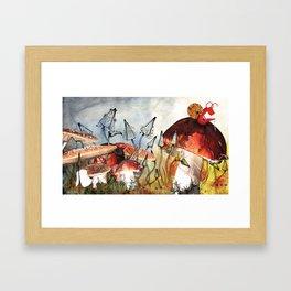 Snail on a Mushroom Poster Framed Art Print