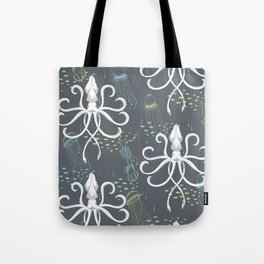 Ghostly Squid Damask Tote Bag