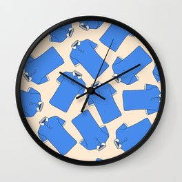 Shopping Blue Poloshirts Wall Clock