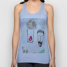 To the moon and back, french bulldog unique art/drawing/fingerprint art Unisex Tank Top