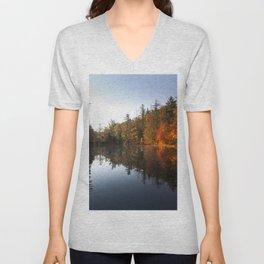 Mirrored Lake in Fall Unisex V-Neck