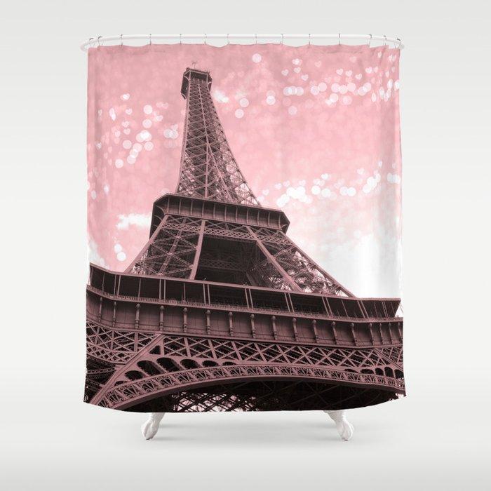 Paris Pink Eiffel Tower Shower Curtain