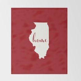 Illinois is Home - Red on White Throw Blanket