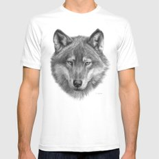 Wolf face G084 MEDIUM Mens Fitted Tee White