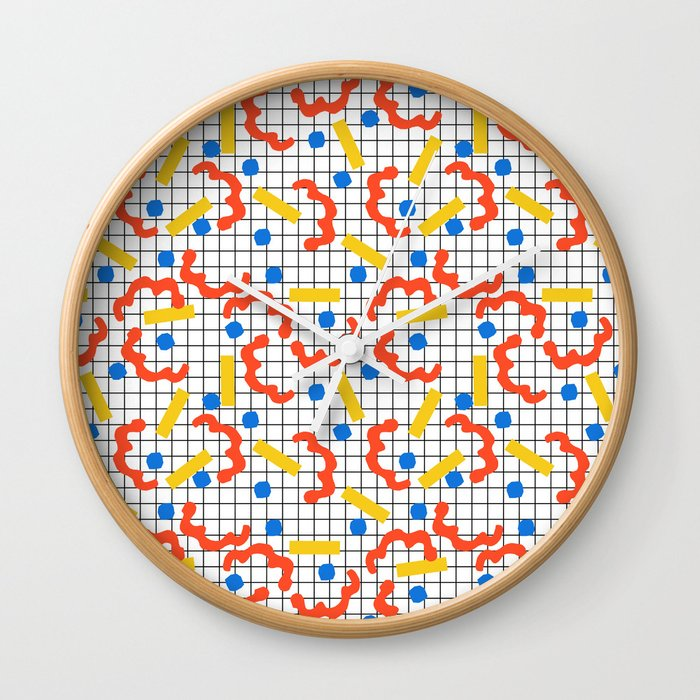 Primal - memphis throwback squiggle circle geometric grid lines dots trendy hipster 80s retro cool Wall Clock