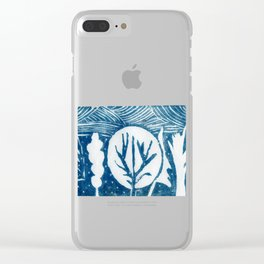 linocut trees print Clear iPhone Case