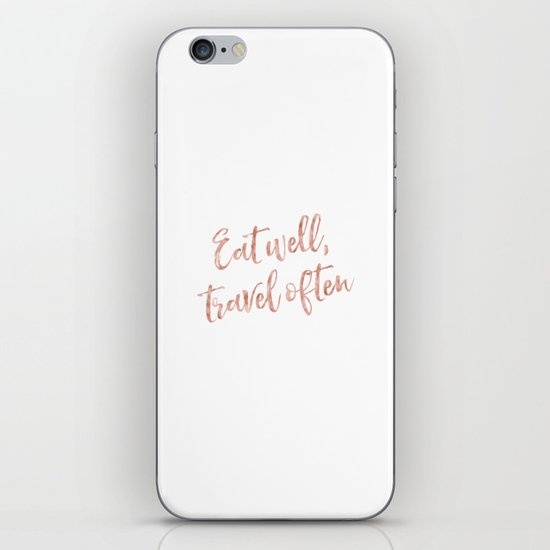 Eat well, travel often - rose gold quote by peggieprints