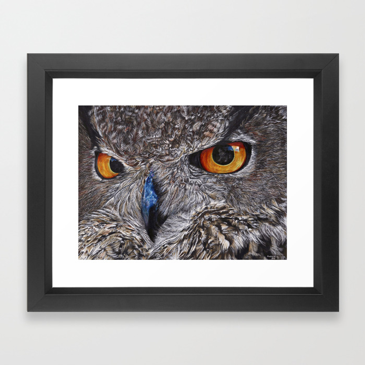 Owl Colored Pencil Drawing Framed Art Print By Nalikaylee Society6
