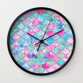 Colorful Pink and Blue Watercolor Trendy Glitter Mermaid Scales  Wall Clock