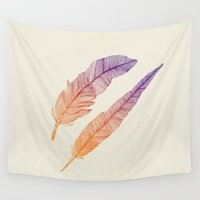 feathers Wall Tapestries featuring Feathers by pakowacz