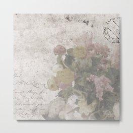 Floral Vintage Postcard bouquet of flowers Metal Print