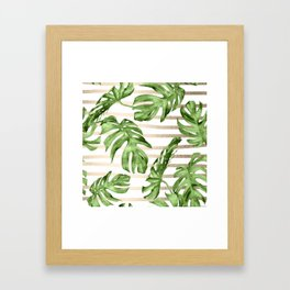 Simply Tropical White Gold Sands Stripes and Palm Leaves Framed Art Print