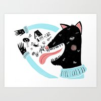 bad wolf Art Prints featuring Bad Wolf by Strawberry Moth
