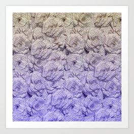 Cold Purple Ombre Book Flowers Art Print
