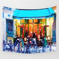bicycles Wall Tapestries featuring Little Paris Cafe with Bicycles  by Melissa