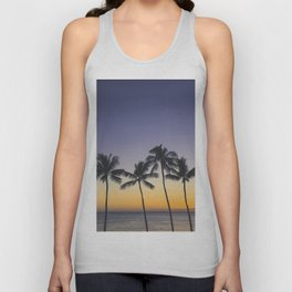 Palm Trees w/ Ombre Tropical Sunset - Hawaii Unisex Tank Top