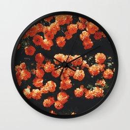 Orange flower fleurs Wall Clock