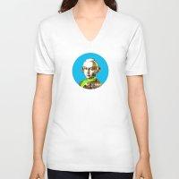 mozart V-neck T-shirts featuring Mozart Kugel Blue by Marko Köppe