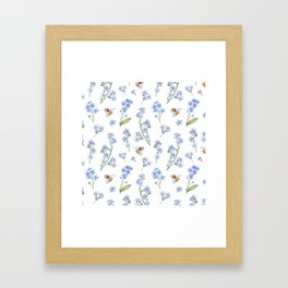 Cute hand painted brown bee lavender watercolor floral Framed Art Print