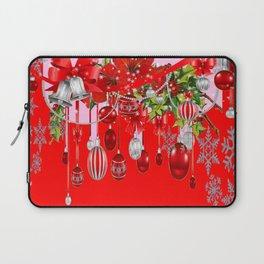 RED CHRISTMAS SNOW FLAKES & AMARYLLIS CHRISTMAS ORNAMENTS Laptop Sleeve