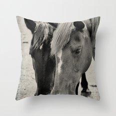 Two Horses Throw Pillow