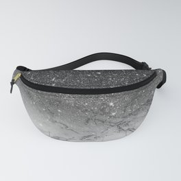 Stylish faux black glitter ombre white marble pattern Fanny Pack