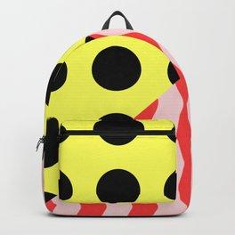 Polka Waves - black and yellow polka dots and red and pink waves Backpack