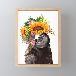 Sloth with Sunflower Crown Framed Mini Art Print