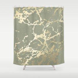 Kintsugi Ceramic Gold on Green Tea Shower Curtain