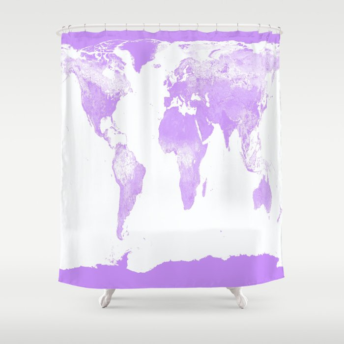 wOrld Map Lavender Shower Curtain by lilkiddies | Society6