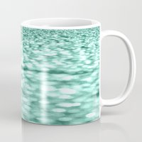 mint Mugs featuring Mint Glitter Sparkles by WhimsyRomance&Fun