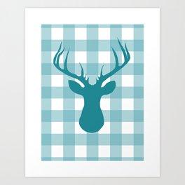 Whimsical Christmas // Blue Buffalo Deer Art Print