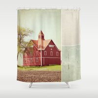 american beauty Shower Curtains featuring Lucky Star by Farmhouse Chic