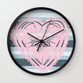 Have a Heart in pink & grey / gray Wall Clock