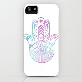 Hamsa Hand Purple and Blue Watercolor iPhone Case
