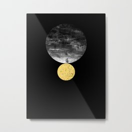 Orson - minimal black and gold modern marble abstract painting dark skywatching galaxy planets space Metal Print