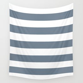 Slate gray - solid color - white stripes pattern Wall Tapestry