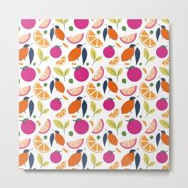 Citrus Fruits - Oranges & Lemons with White Background Metal Print
