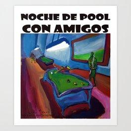Noche de pool con amigos por Diego Manuel Art Print