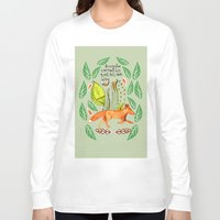 sayings Long Sleeve T-shirts featuring Every Fox...fox, sayings, typography, quote, nature, leaves by Slumbermonkey Designs